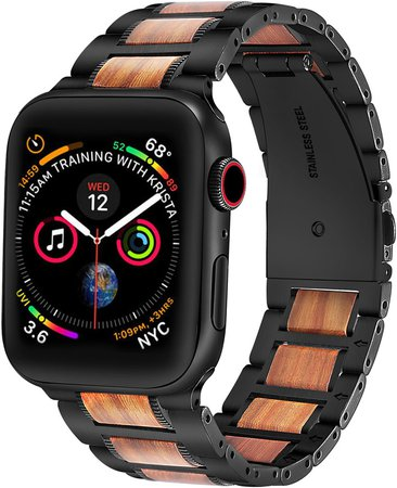 The Posh Tech Stainless Steel & Wood Bracelet Strap for Apple Watch(R)