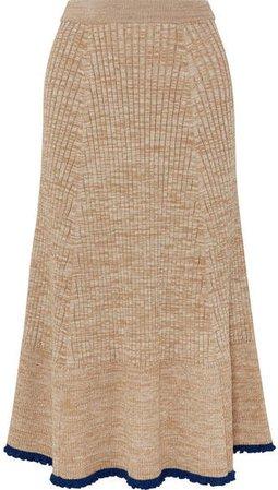 Ribbed Mélange Wool Midi Skirt - Beige
