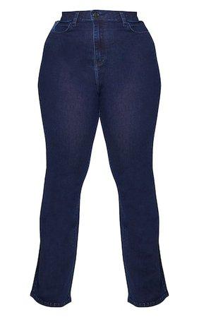 Plus Indigo Flare Denim Jeans | Plus Size | PrettyLittleThing USA