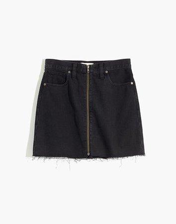 Rigid Denim A-Line Mini Skirt in Lunar Wash