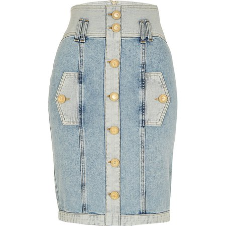 Blue high waisted button denim midi skirt | River Island
