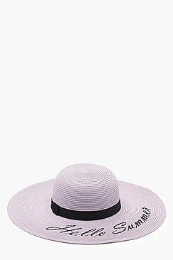 Olivia Hello Summer Slogan Straw Floppy Hat