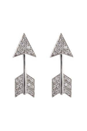 18kt White Gold Arrow Earrings with Diamonds Gr. One Size
