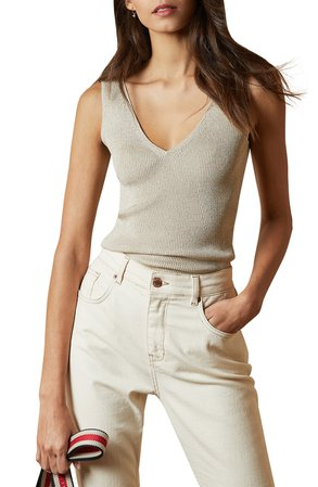 Ted Baker London Niyalia Metallic Ribbed Tank | Nordstrom