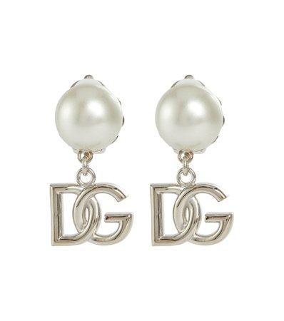 Dolce & Gabbana Logo faux pearl earrings