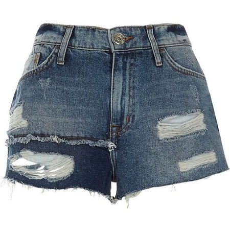River Island Blue authentic ripped patchwork denim shorts ($