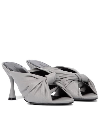 Balenciaga - Drapy leather sandals | Mytheresa