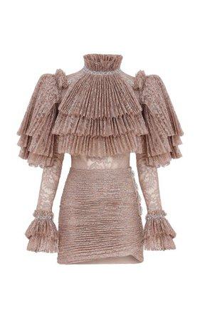 Ruffled Lace-Plissé Mini Dress By Raisa Vanessa | Moda Operandi