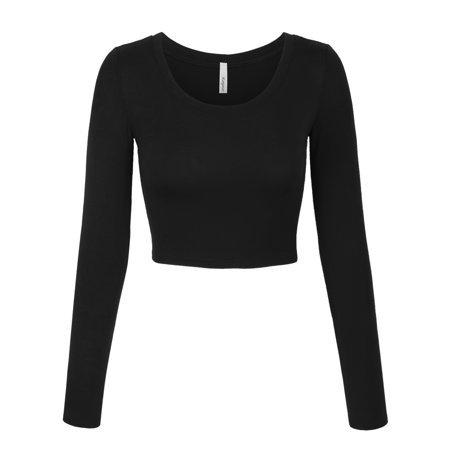 KOGMO - KOGMO Womens Long Sleeve Crop Top Solid Round Neck T Shirt - Walmart.com