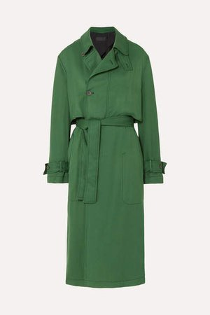 Belted Twill Trench Coat - Green