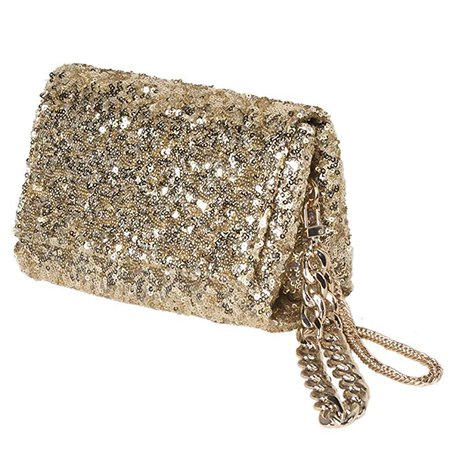 Women Gold Sequin Clutch Purse with Wrist/Sparkly Evening Bag with Flap and Crossbody Chain for Party
