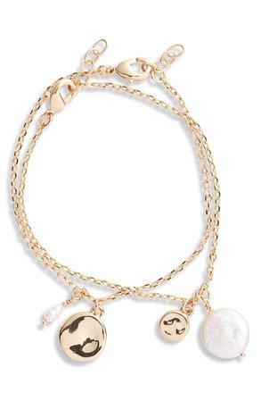 Halogen® Set of 2 Imitation Pearl Charm Bracelets | Nordstrom