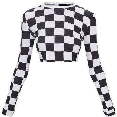 Long Sleeve Checkered Crop Top