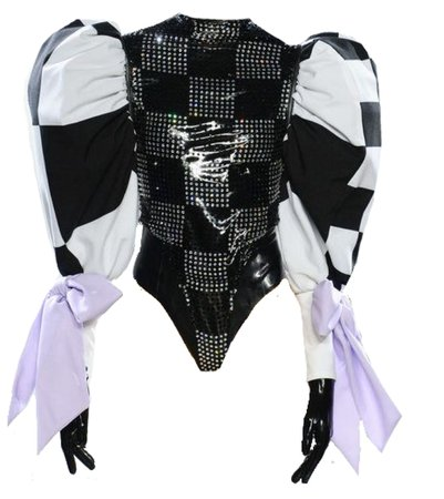 Checkered Bodysuit with Purple Ribbons