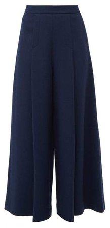 Pacifica Wool Crepe Wide Leg Trousers - Womens - Dark Navy