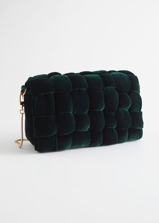 Quilted Velvet Clutch Bag - Green - Clutches - & Other Stories