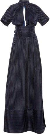Cutout Pinstriped Cotton-Blend Maxi Shirt Dress