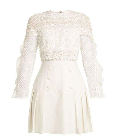 Long Sleeve White Lace Mini Dress