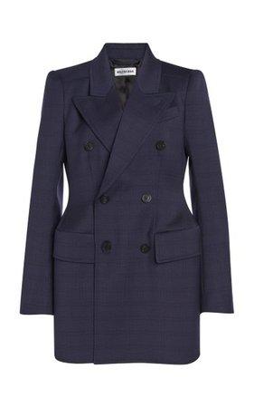 Hourglass Checked Wool Blazer By Balenciaga   Moda Operandi
