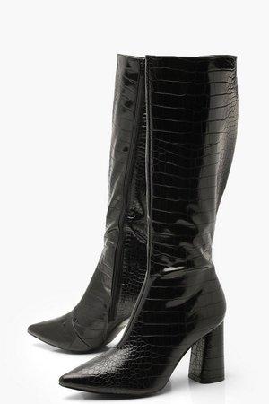 Croc Knee High Block Heel Boots | Boohoo