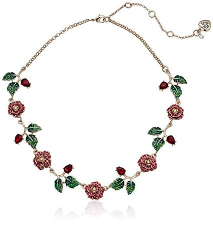 "Betsey Johnson ""Rose & Stone"" Collar Necklace, Pink, One Size: Clothing"