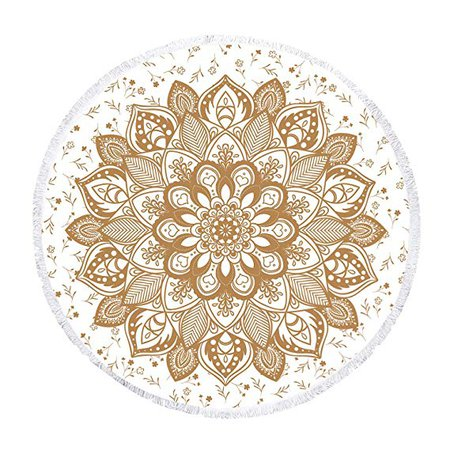 Amazon.com: Zeronal Beach Towel Round Roundie Mandala Tapestry Beach Tapestry Picnic Blanket Yoga Mat Table Cloth Hippie Bohemian Decor Ultra Soft Super Water Absorbent 59 inch: Bedding & Bath
