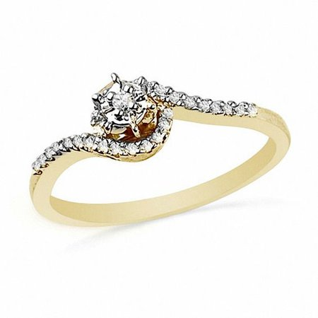 Diamond Accent Bypass Promise Ring in 10K Gold   Promise Rings   Wedding   Peoples Jewellers
