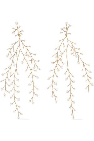 14 / Quatorze | Baby's Breath gold-plated pearl earrings | NET-A-PORTER.COM
