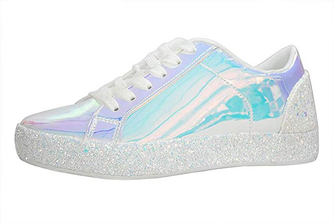 Amazon.com | LUCKY STEP Glitter Sneakers Lace up | Fashion Sneakers | Sparkly Shoes for Women (6 B(M) US, Silver -1) | Fashion Sneakers