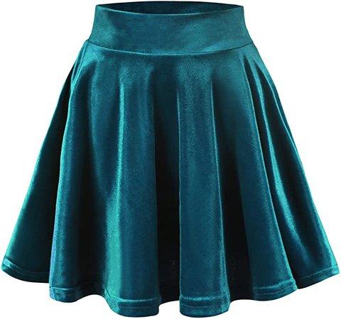 Urban CoCo Women's Vintage Velvet Stretchy Mini Flared Skater Skirt (M, Navy Blue-Series 2) at Amazon Women's Clothing store