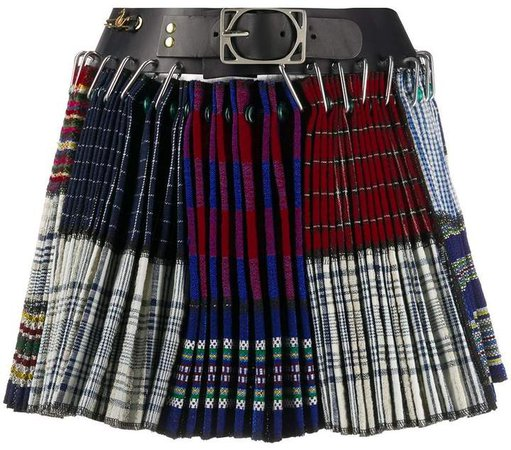 Chopova Lowena Belted Safety Pins Pleated Skirt