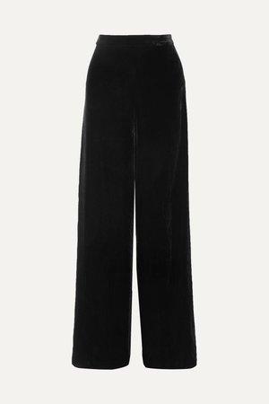 Black The Tommy velvet wide-leg pants | Cami NYC | NET-A-PORTER