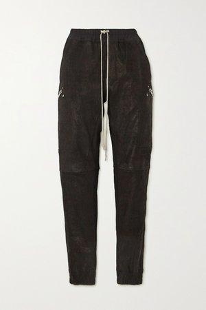 Black Stretch-leather and cotton-blend track pants | Rick Owens | NET-A-PORTER