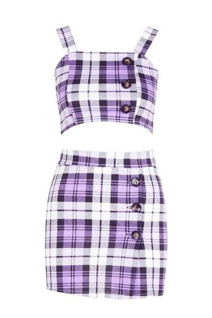 Penny Purple Check Button Co-ord Set | Boohoo