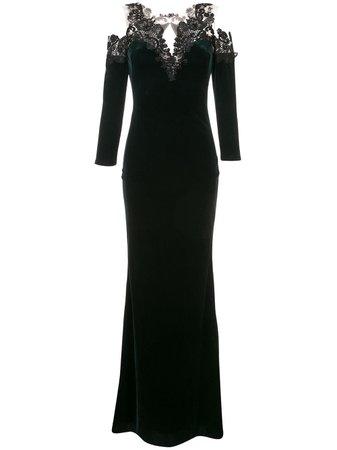 Green Marchesa Notte Cold-Shoulder Velvet Gown | Farfetch.com