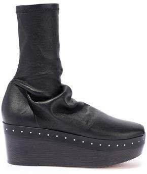 Sabot Stretch-eather Platform Sock Boots