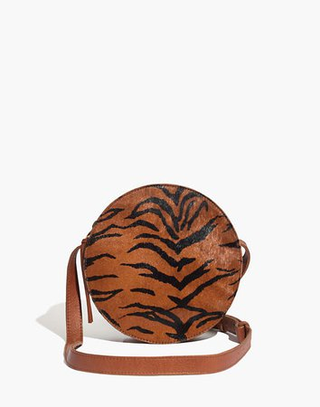 The Simple Circle Crossbody Bag in Calf Hair brown