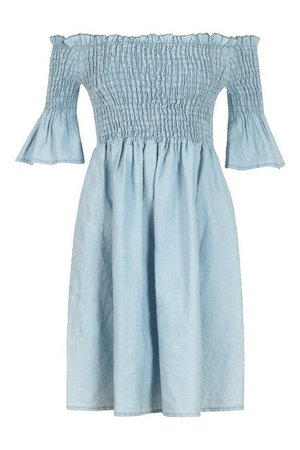 Chambray Shirred Off Shoulder Skater Dress | Boohoo UK