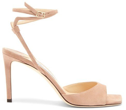 Mori Wraparound-strap Suede Sandals - Light Pink