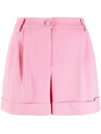 Moschino high-waisted gathered-detail shorts pink