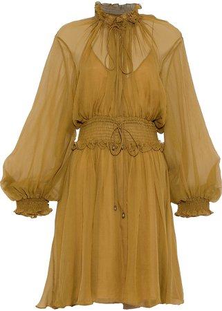 Shirred Silk-georgette Dress