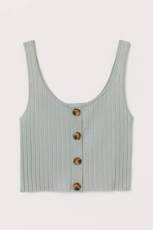Ribbed Tank Top with Buttons - Green