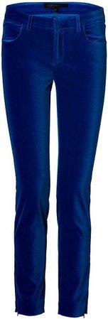 Women's Cotton Velvet Ankle Slim Pants In Royal Blue Velvet