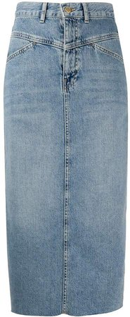 Faded Mid-Length Denim Skirt
