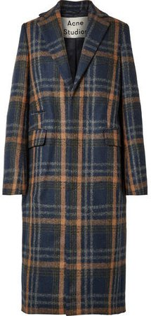 Checked Wool-blend Coat - Navy