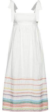 Laelia Embroidered Linen And Cotton-blend Midi Dress