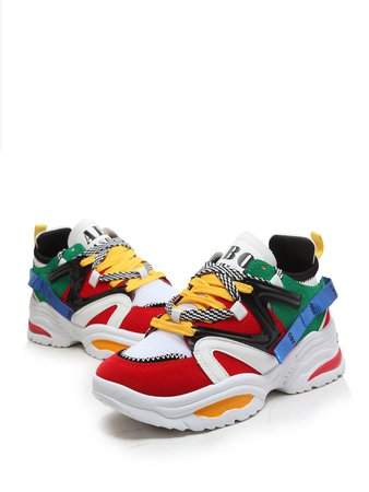 Abo 90's Primary Color Block Mesh Panel Sneaker