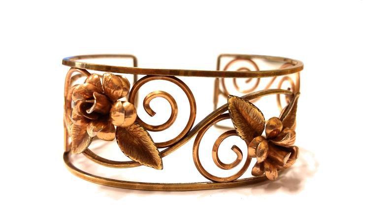 Krementz Cuff Bracelet Gold Filled Roses and Leaves 1950s   Etsy