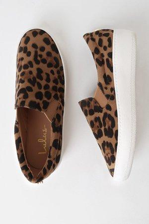 Leopard Suede Sneakers - Slip-On Sneakers - Flatform Sneakers