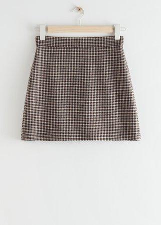 Houndstooth Wool Blend Mini Skirt - Black Checks - Mini skirts - & Other Stories